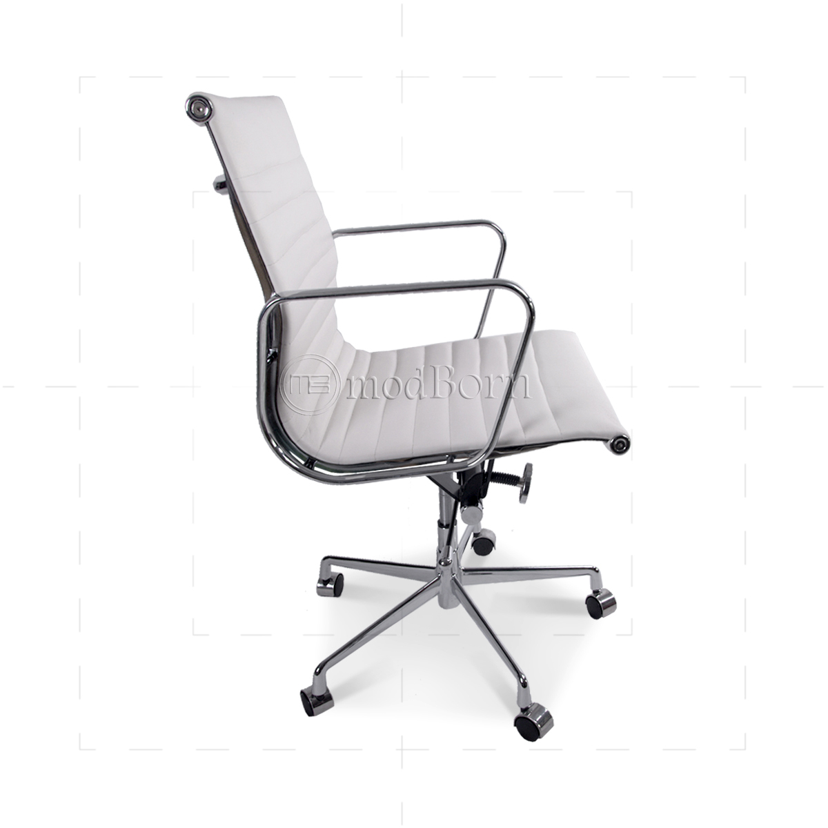 ea117 eames style office chair low back ribbed white leather. Black Bedroom Furniture Sets. Home Design Ideas