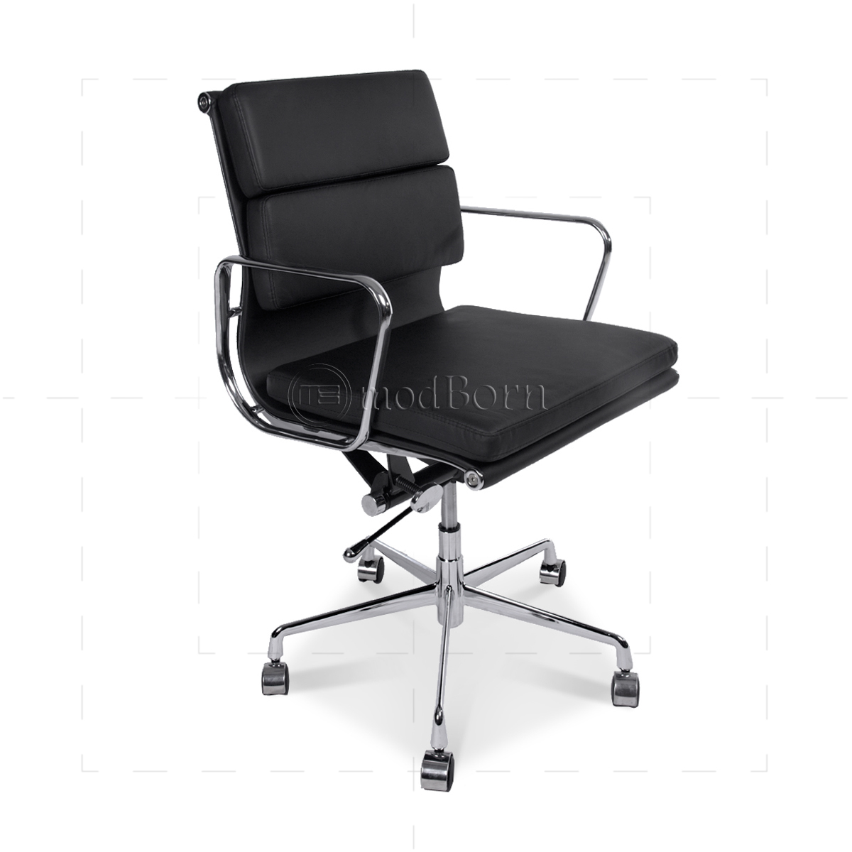 ea217 eames style office chair low back soft pad black leather. Black Bedroom Furniture Sets. Home Design Ideas