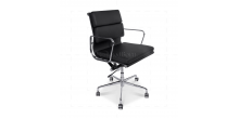 Office Chair Low Back Soft Pad Black Leather