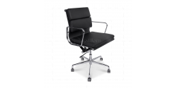EA217 Eames Style Office Chair Low Back Soft Pad Black Leather - Replica