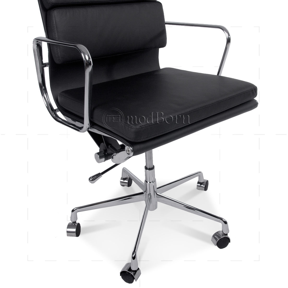 Ea217 eames style office chair low back soft pad black leather for Eames replica deutschland