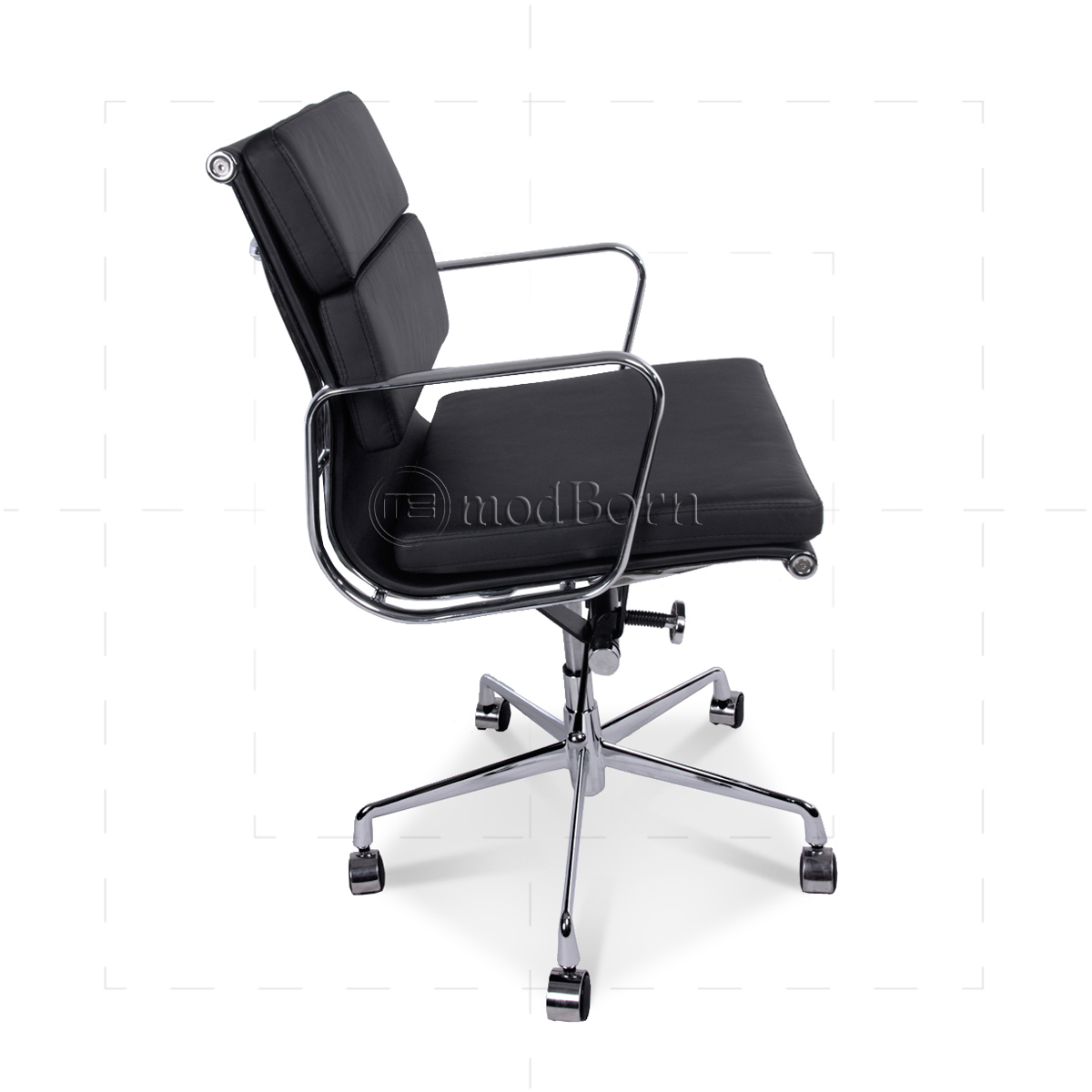 Eames Style Office Chair Low Back Soft Pad Black Leather