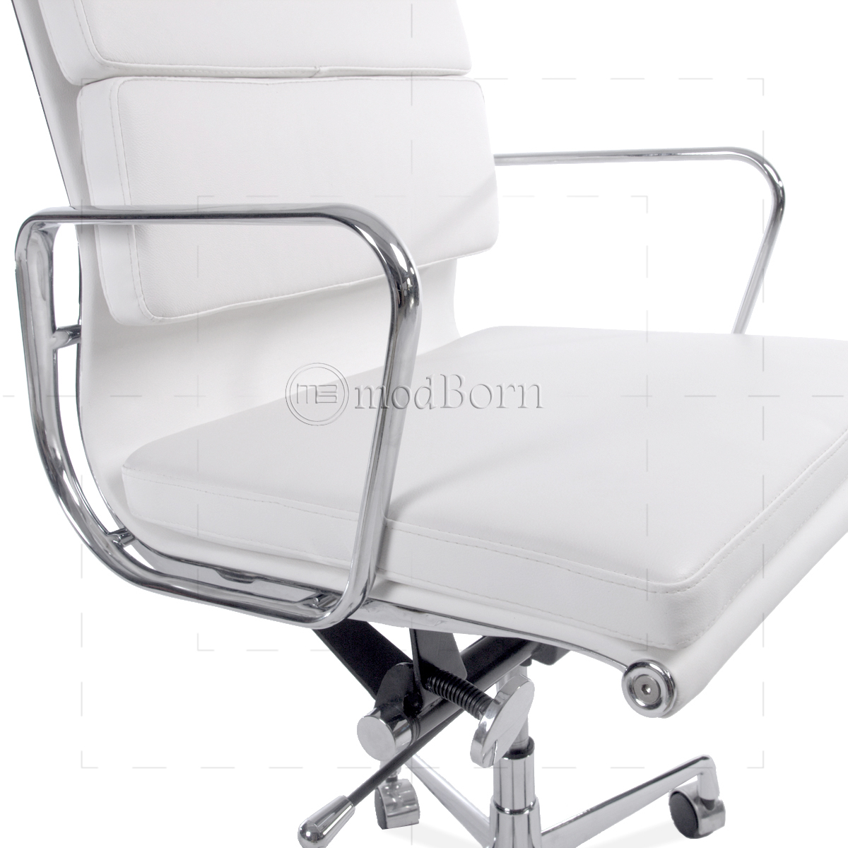 Ea217 Eames Style Office Chair Low Back Soft Pad White