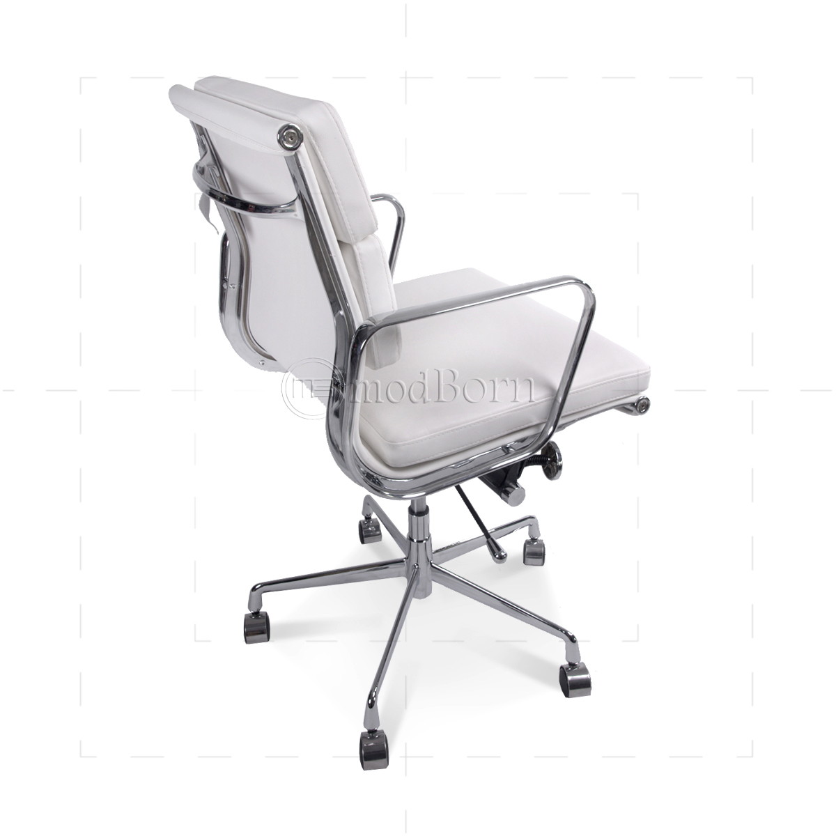 ea217 eames style office chair low back soft pad white leather replica. Black Bedroom Furniture Sets. Home Design Ideas
