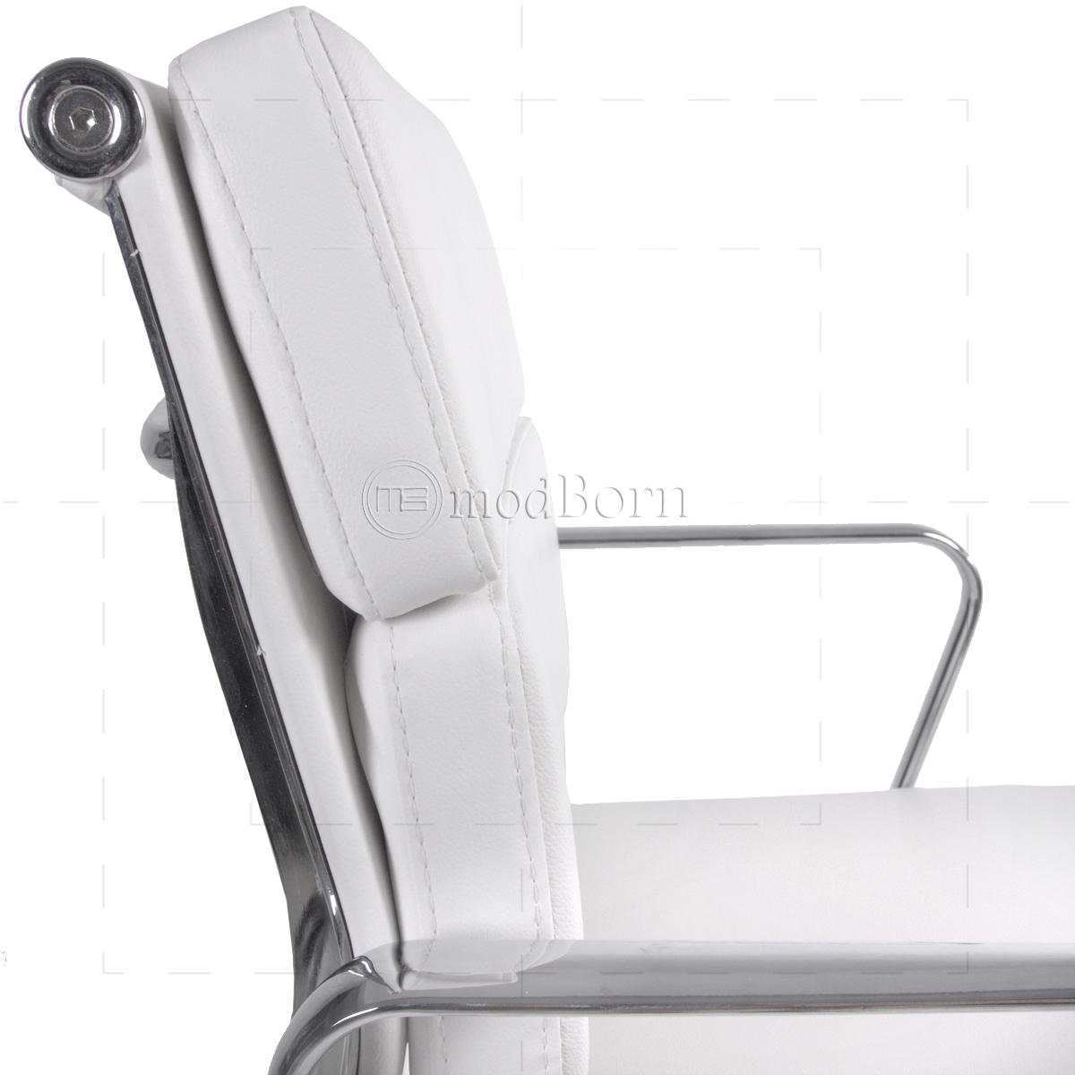 ea217 eames style office chair low back soft pad white leather