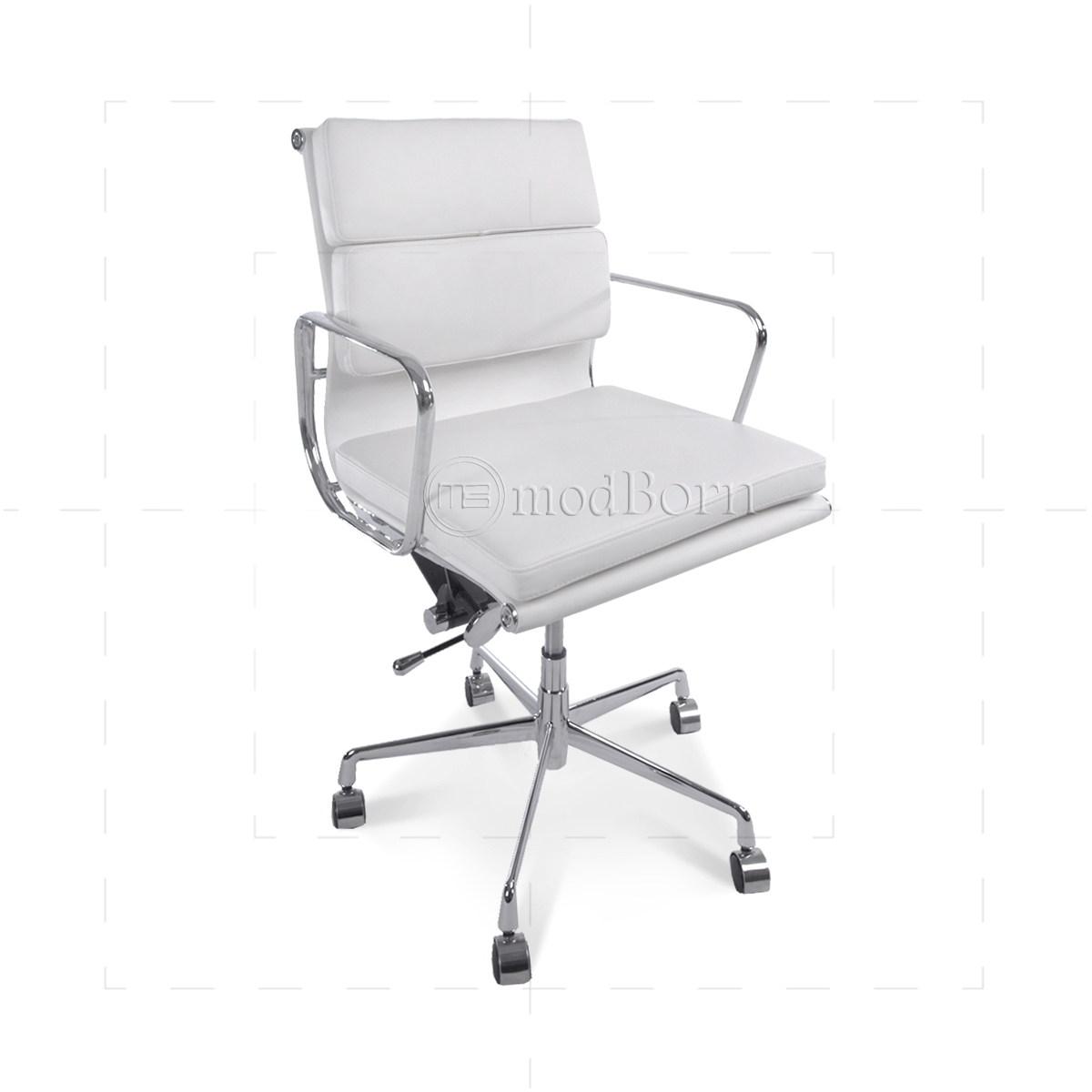 EA217 Eames Style fice Chair Low Back Soft Pad White Leather Replica