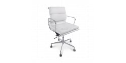 Office Chair Low Back Soft Pad White Leather