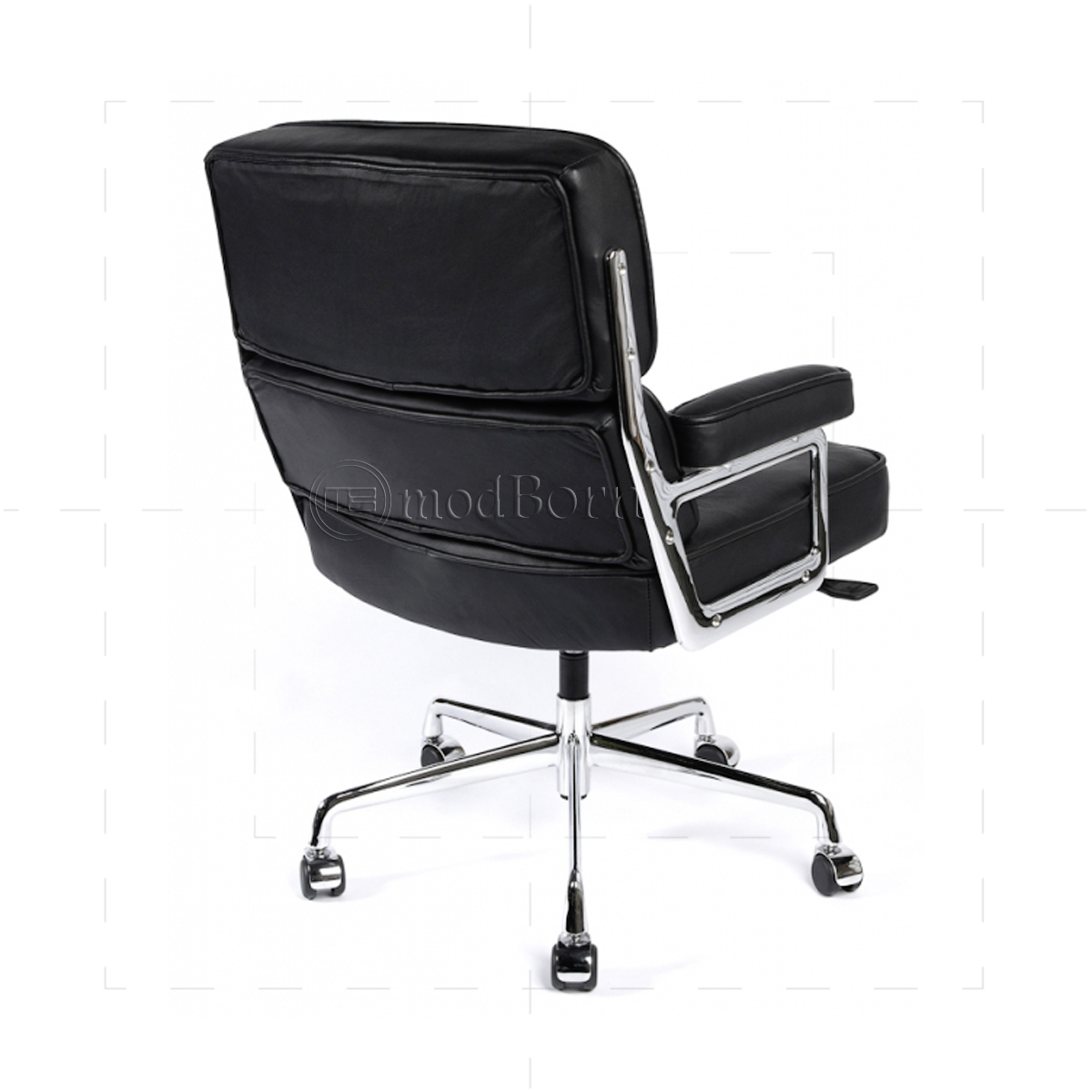 ea104 eames style office lobby black leather executive chair replica. Black Bedroom Furniture Sets. Home Design Ideas