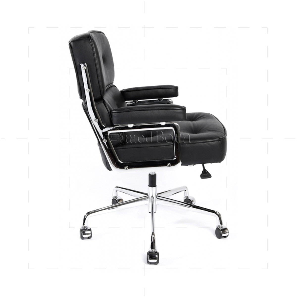 Eames Style Office Lobby Black Leather Executive Chair