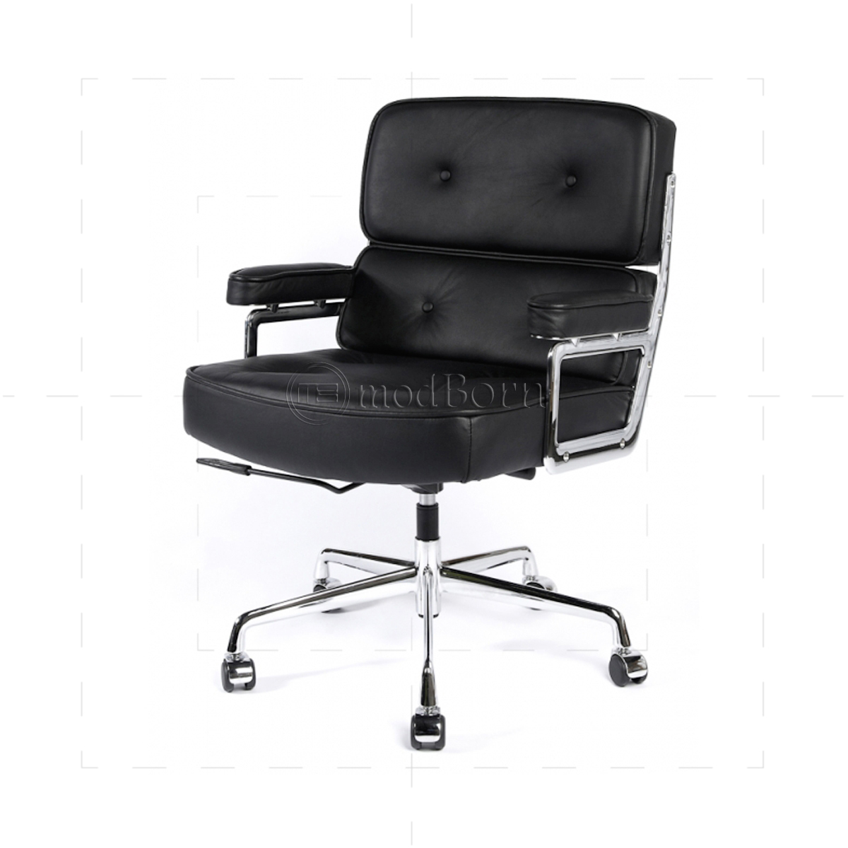 Leather reception chairs for home office - Ea104 Eames Style Office Lobby Black Leather Executive Chair