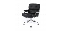 EA104 Eames Style Office Lobby Black Leather Executive Chair - Replica