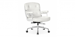 EA104 Eames Style Office Lobby WHITE Leather Executive Chair - Replica