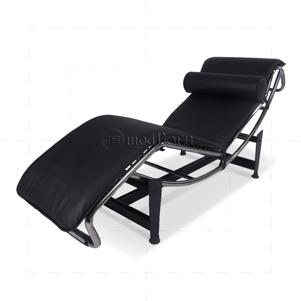 Le corbusier style lc4 chaise longue black leather for Black leather chaise