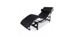 Le Corbusier Style LC4 Chaise Lounge Black Leather