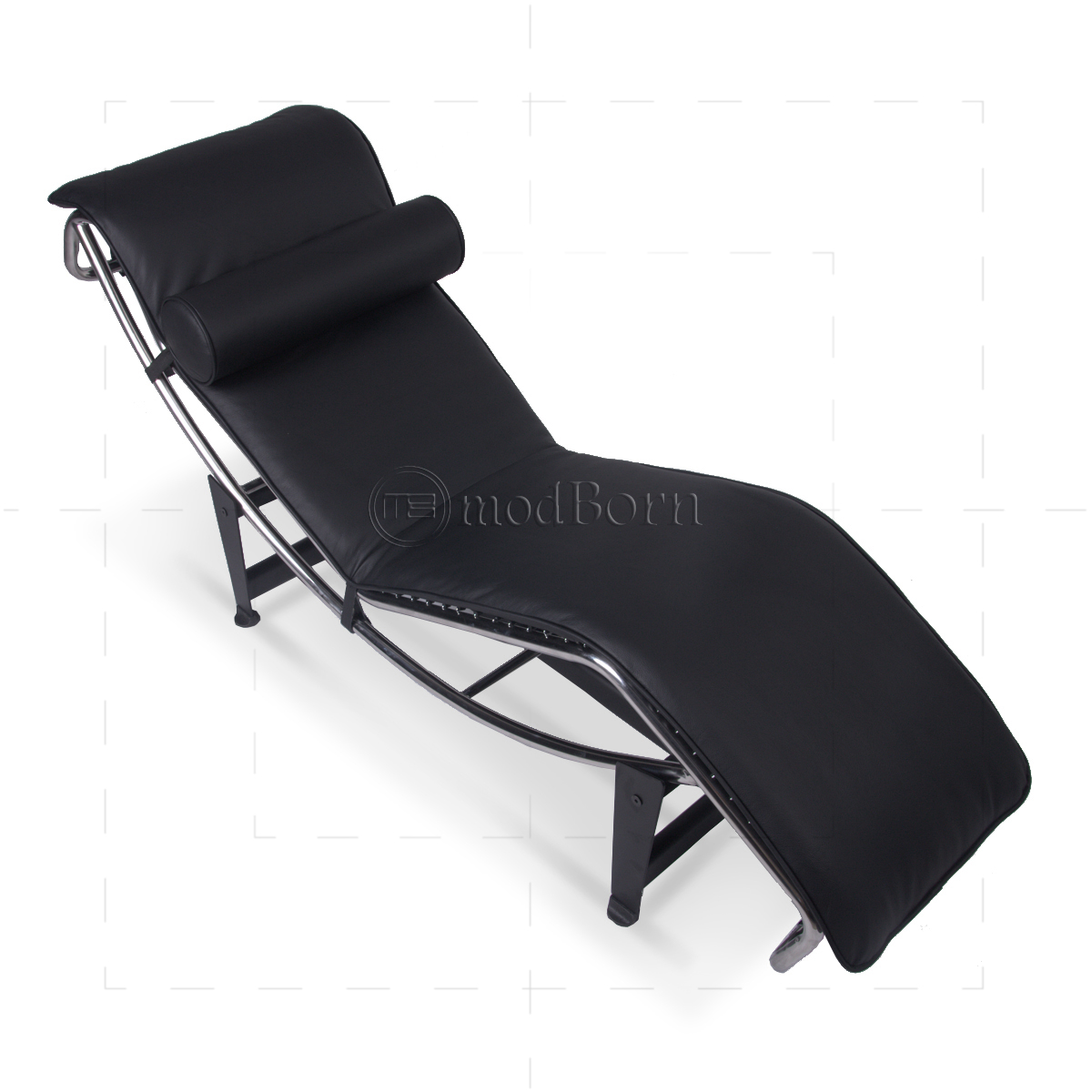 Le corbusier style lc4 chaise longue black leather replica for Black leather chaise longue