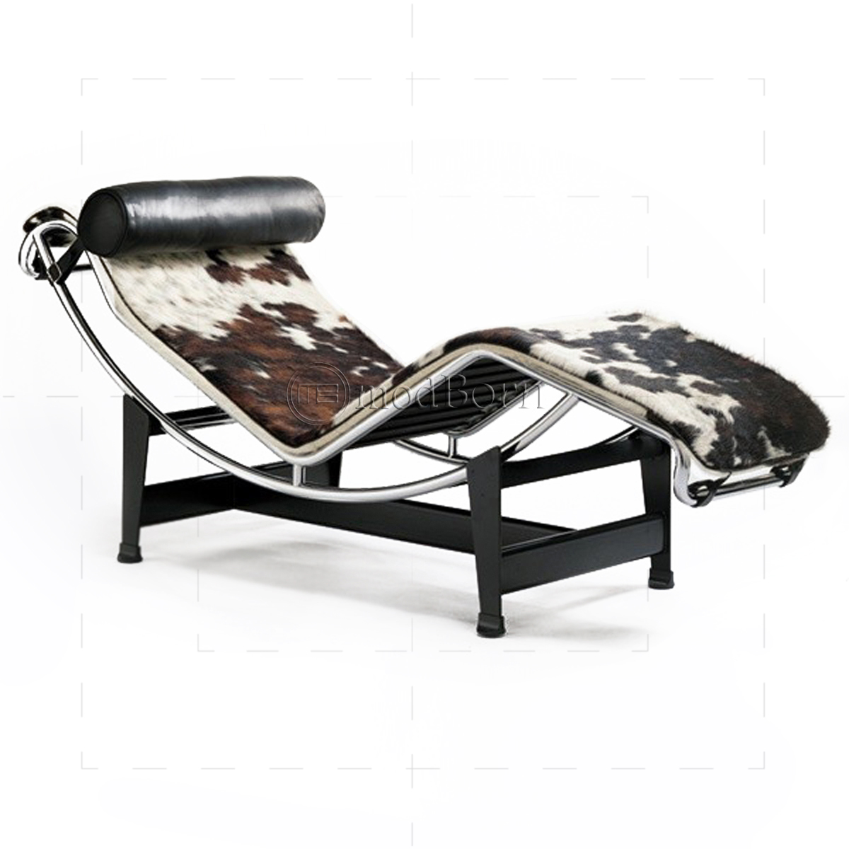 Le corbusier style lc4 chaise longue pony leather replica for Chaise longue le corbusier vache