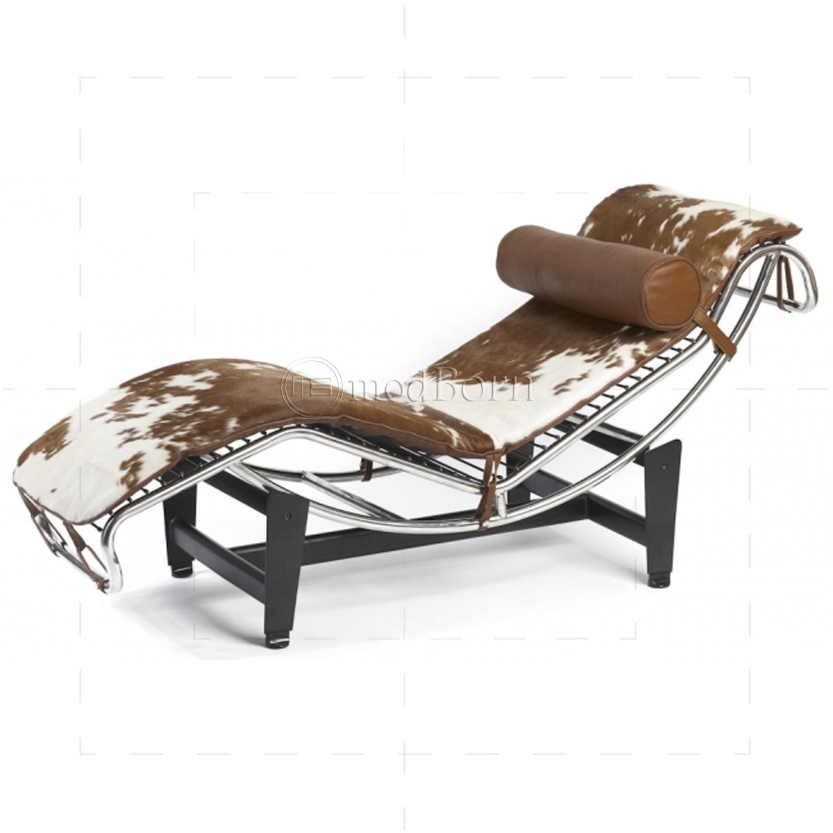 le corbusier style lc4 chaise longue pony leather