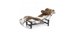 Le Corbusier Style LC4 Chaise Lounge Pony Leather