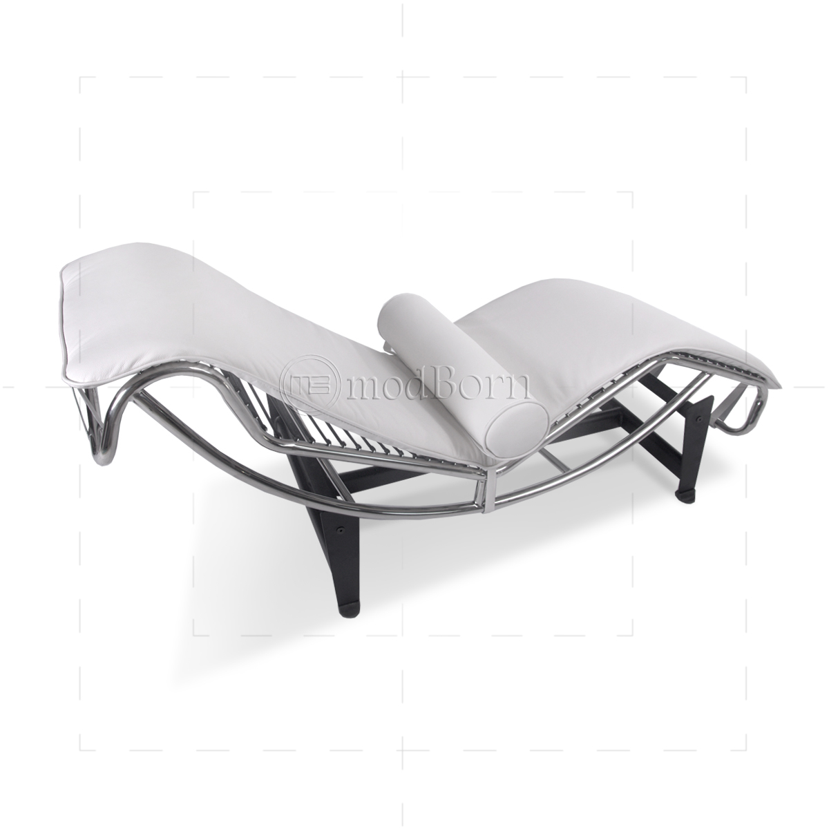 le corbusier style lc4 chaise longue white leather replica. Black Bedroom Furniture Sets. Home Design Ideas