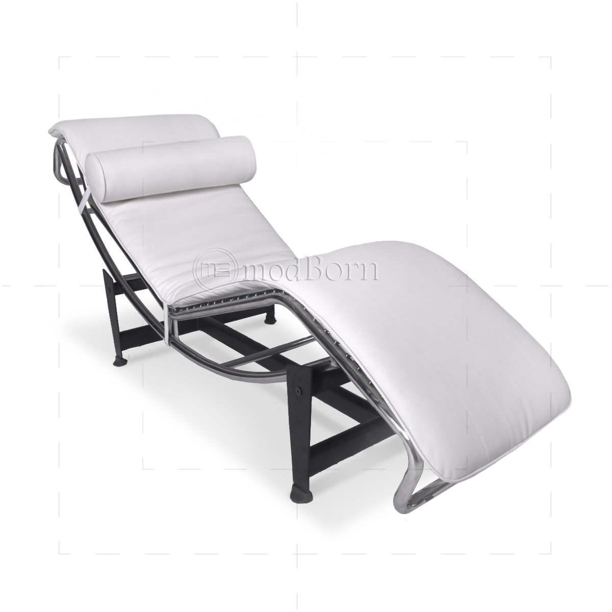 Le corbusier style lc4 chaise longue white leather replica for Chaise longue le corbusier wikipedia