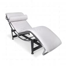Mod le corbusier chaise lounge recliner white leather for Chaise longue classic design italia