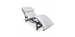 Le Corbusier Style LC4 Chaise Lounge White Leather