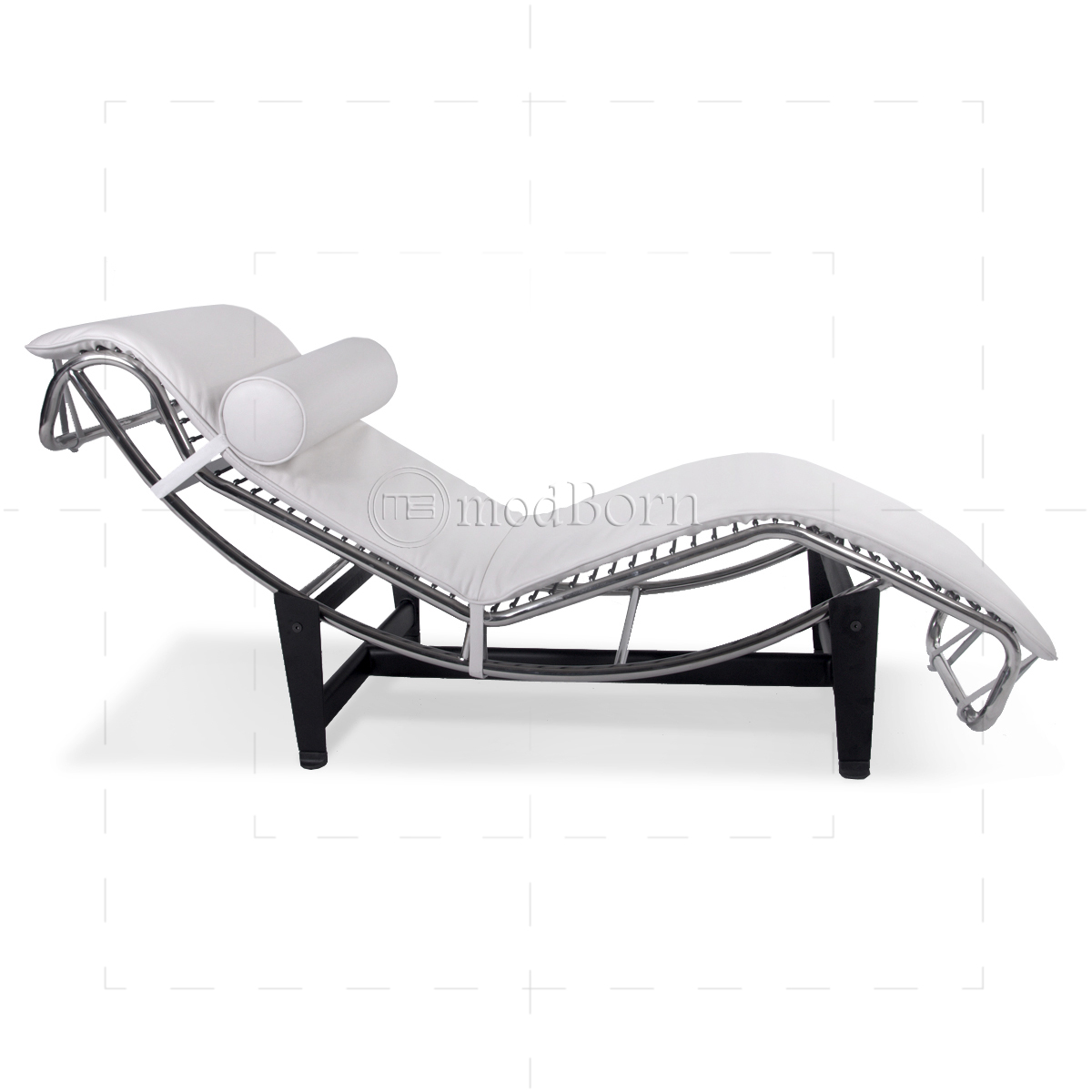 Le corbusier style lc4 chaise longue white leather replica for Chaise longue le corbusier precio