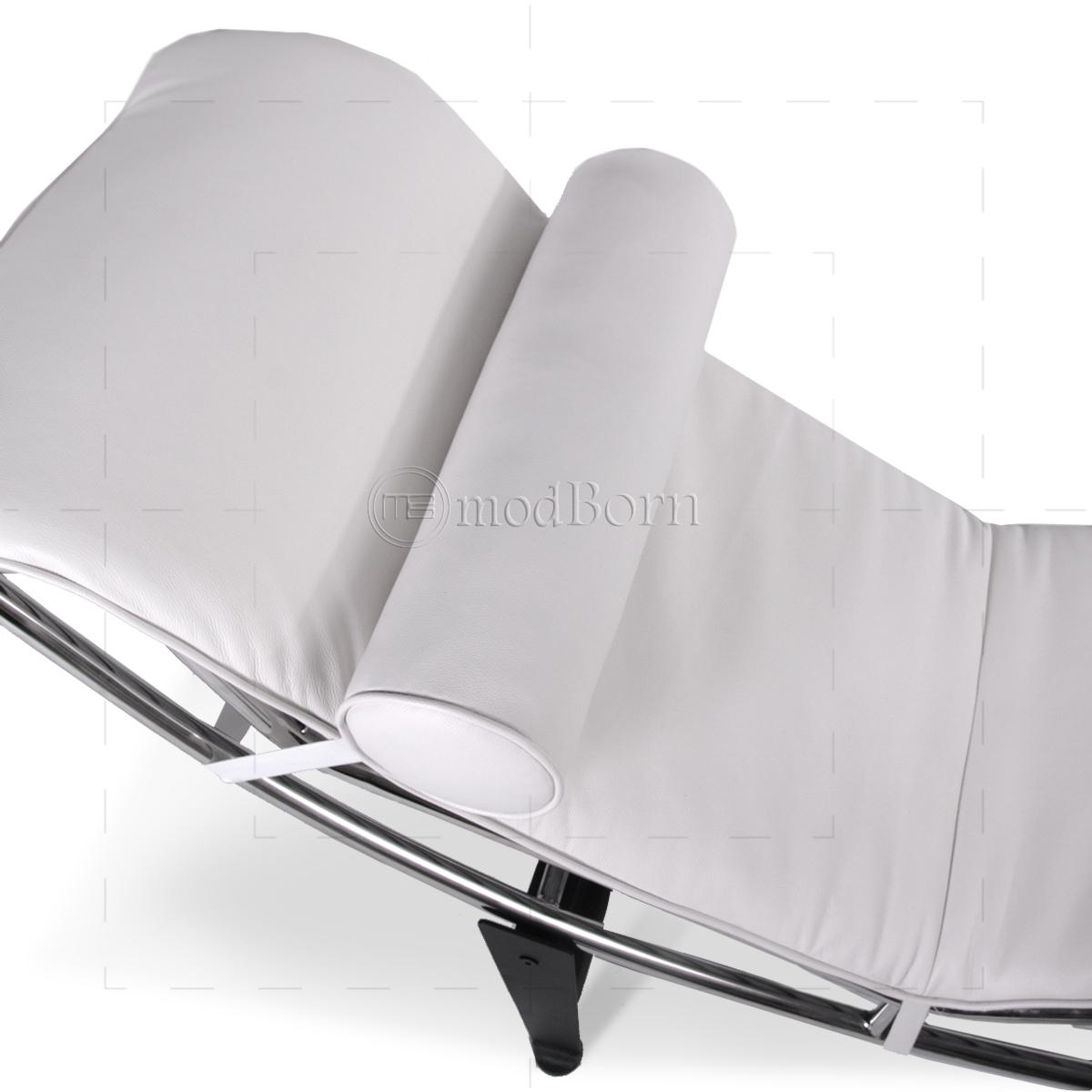 Le corbusier style lc4 chaise longue white leather replica for Chaise longue le corbusier