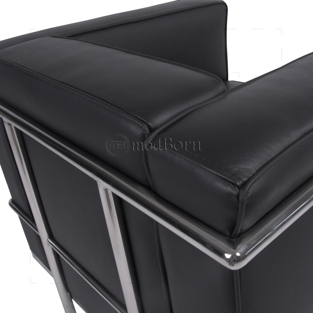 le corbusier style lc2 armchair 1 seater black leather replica. Black Bedroom Furniture Sets. Home Design Ideas