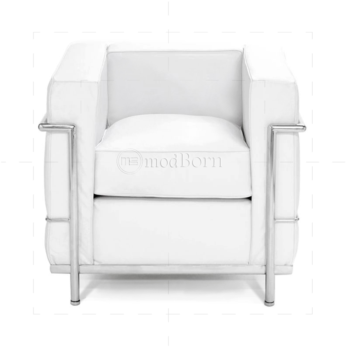Le Corbusier Style Lc2 Armchair 1 Seater White Leather