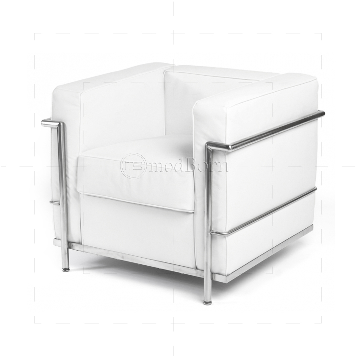 le corbusier style lc2 armchair 1 seater white leather replica. Black Bedroom Furniture Sets. Home Design Ideas