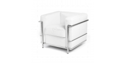 Le Corbusier Style LC2 Armchair 1 Seater white Leather - Replica
