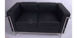 Le Corbusier Style LC2 Sofa 2 Seater Black Leather
