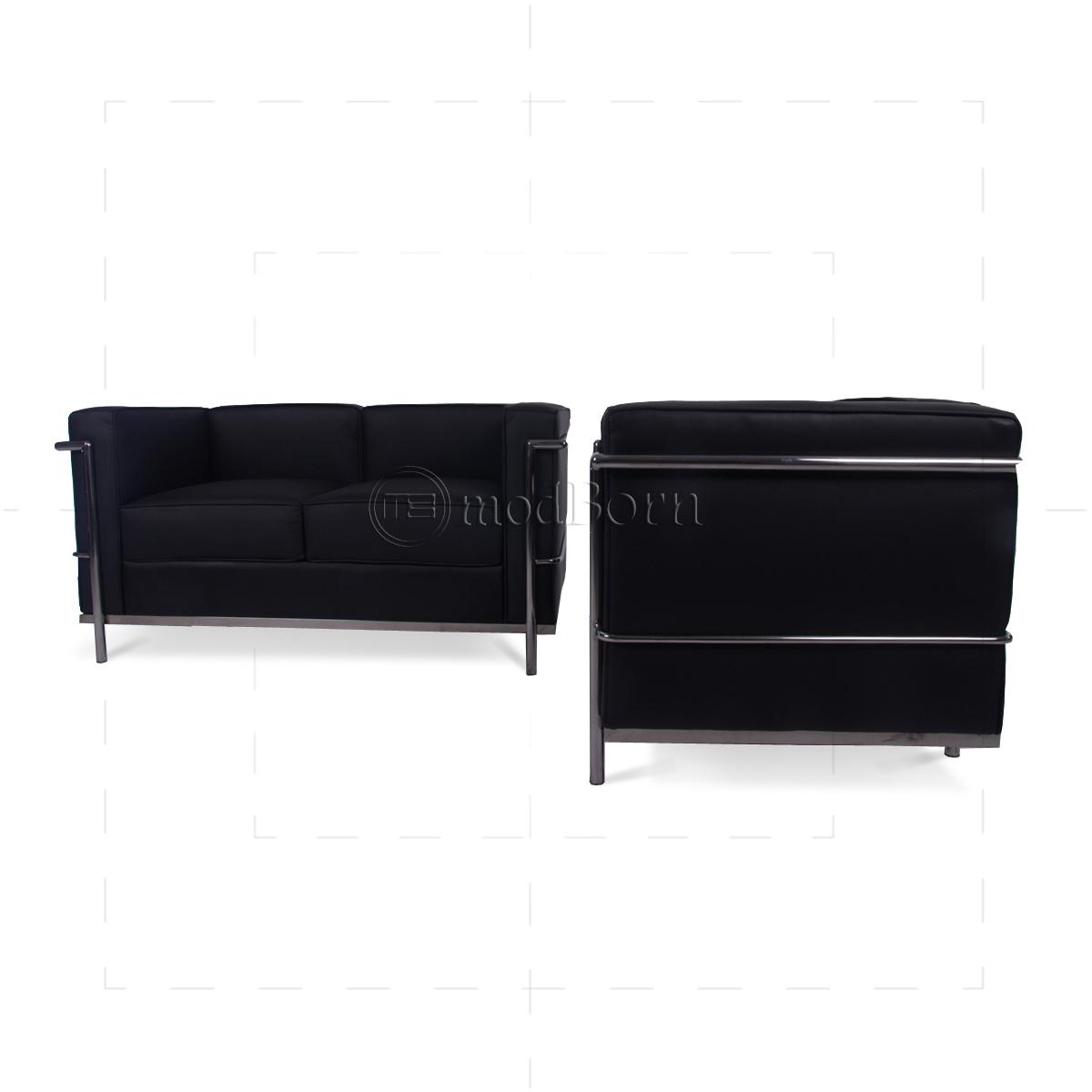 Belgium Leather Sofas Le Corbusier Style LC2 Sofa 2 Seater Black Leather - Replica
