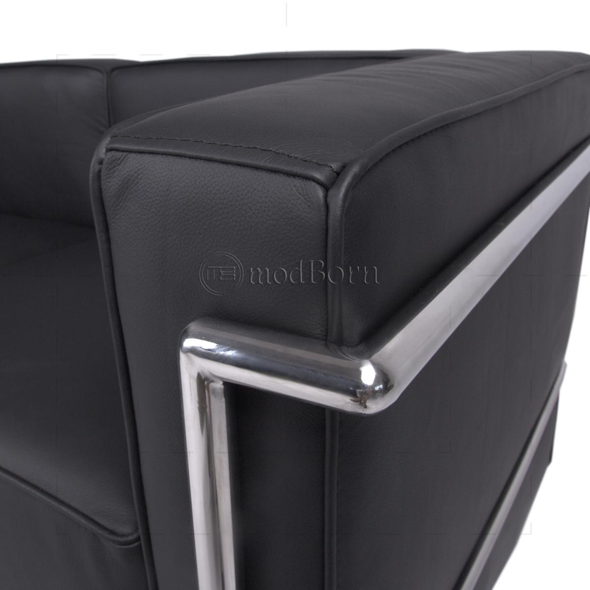 Le Corbusier Style LC2 Sofa 2 Seater Black Leather   Replica
