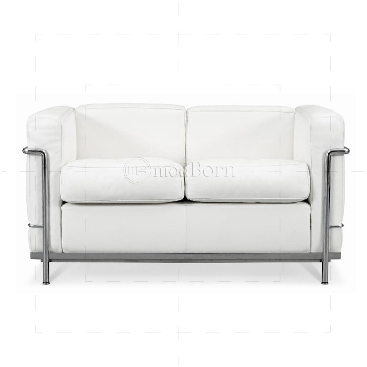 le corbusier style lc2 sofa 2 seater white leather. Black Bedroom Furniture Sets. Home Design Ideas