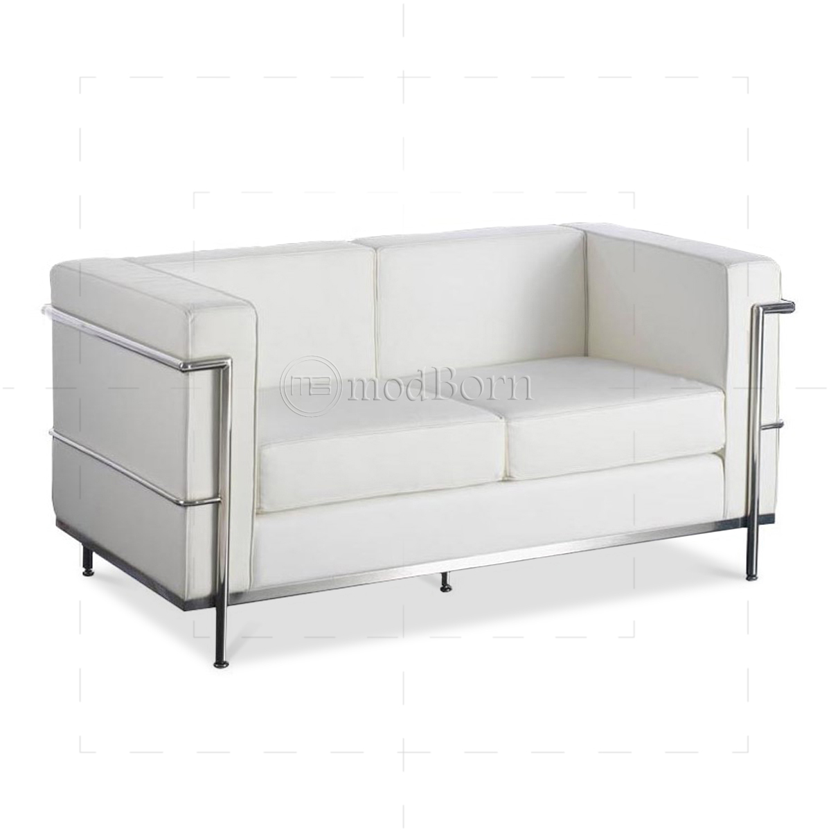 le corbusier style lc2 sofa 2 seater white leather replica. Black Bedroom Furniture Sets. Home Design Ideas