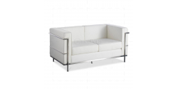 Le Corbusier Style LC2 Sofa 2 Seater white Leather - Replica