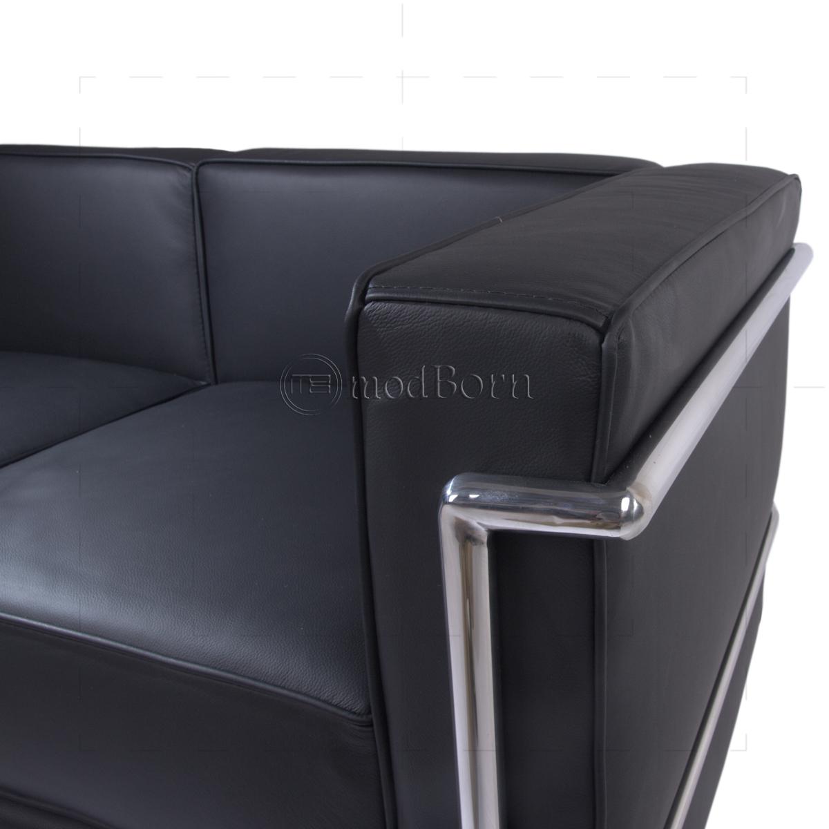 le corbusier style lc2 sofa 3 seater black leather replica. Black Bedroom Furniture Sets. Home Design Ideas