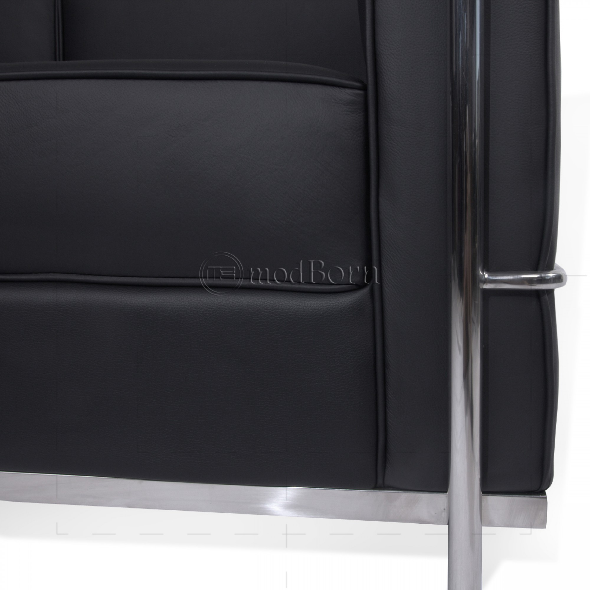 le corbusier style lc2 sofa 3 seater black leather. Black Bedroom Furniture Sets. Home Design Ideas
