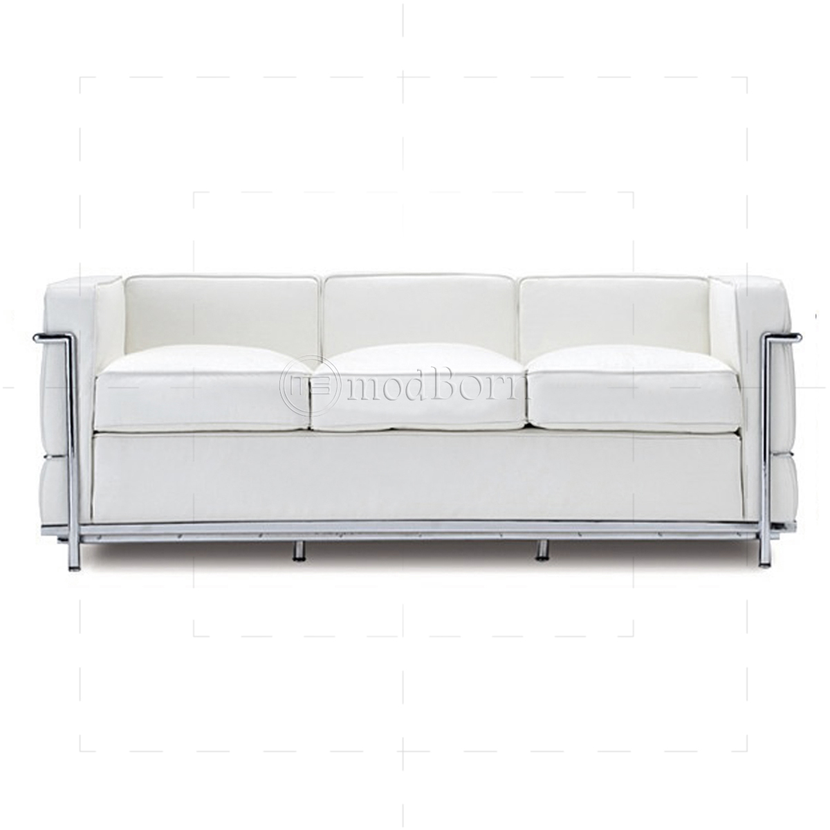 Le corbusier style lc2 sofa 3 seater white leather replica for Le corbusier sofa