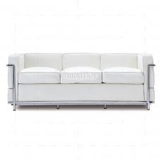 Le Corbusier Style LC2 Sofa 3 Seater White Leather - Replica