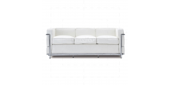 Le Corbusier Style LC2 Sofa 3 Seater White Leather - Replica