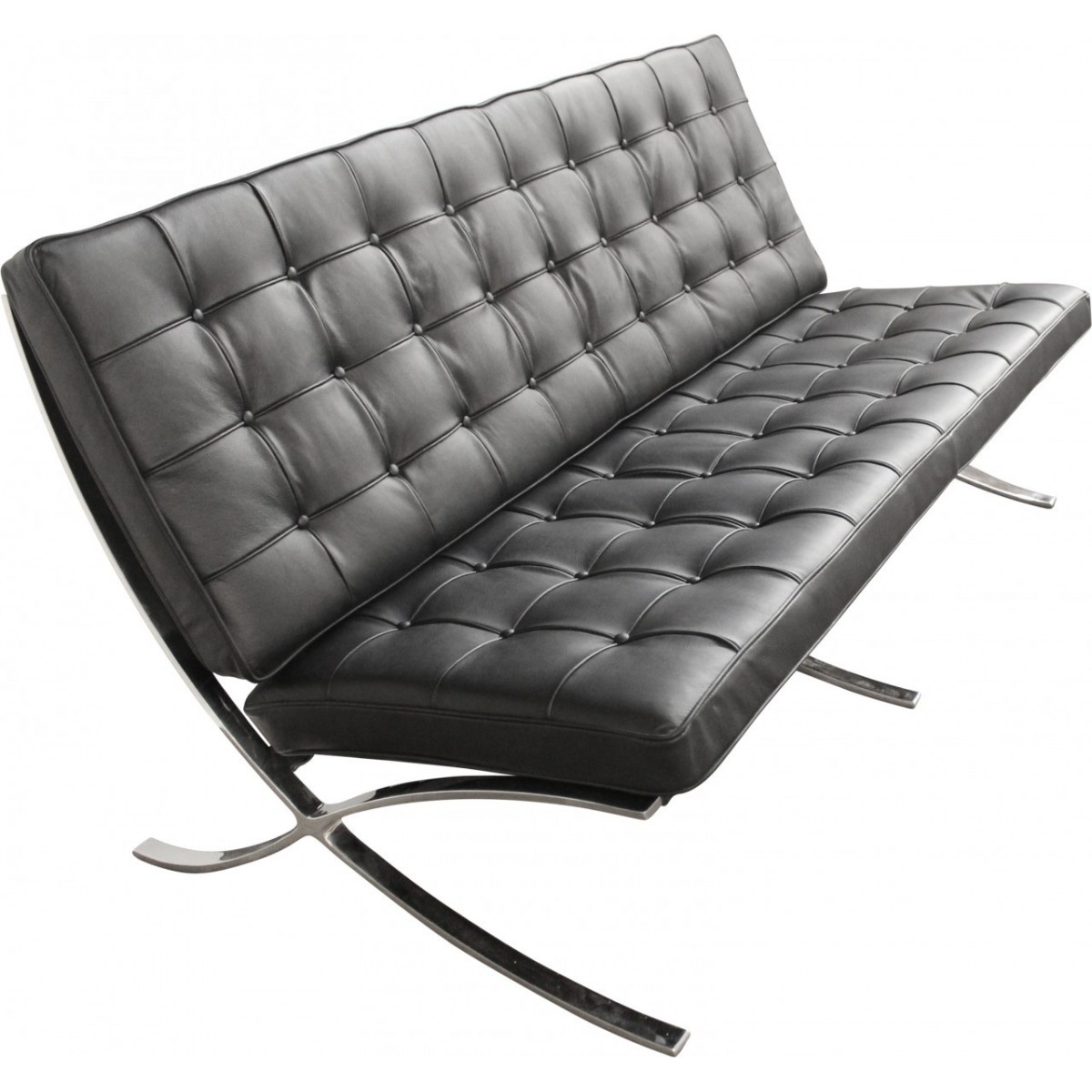 ludwig mies van der rohe barcelona style two seater sofa black leather. Black Bedroom Furniture Sets. Home Design Ideas