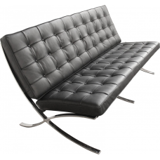 Ludwig Mies van der Rohe Barcelona Style Two Seater Sofa Black Leather - Replica