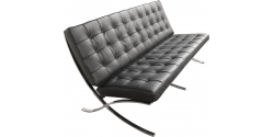 Barcelona Inspired Two Seater Sofa Black Leather