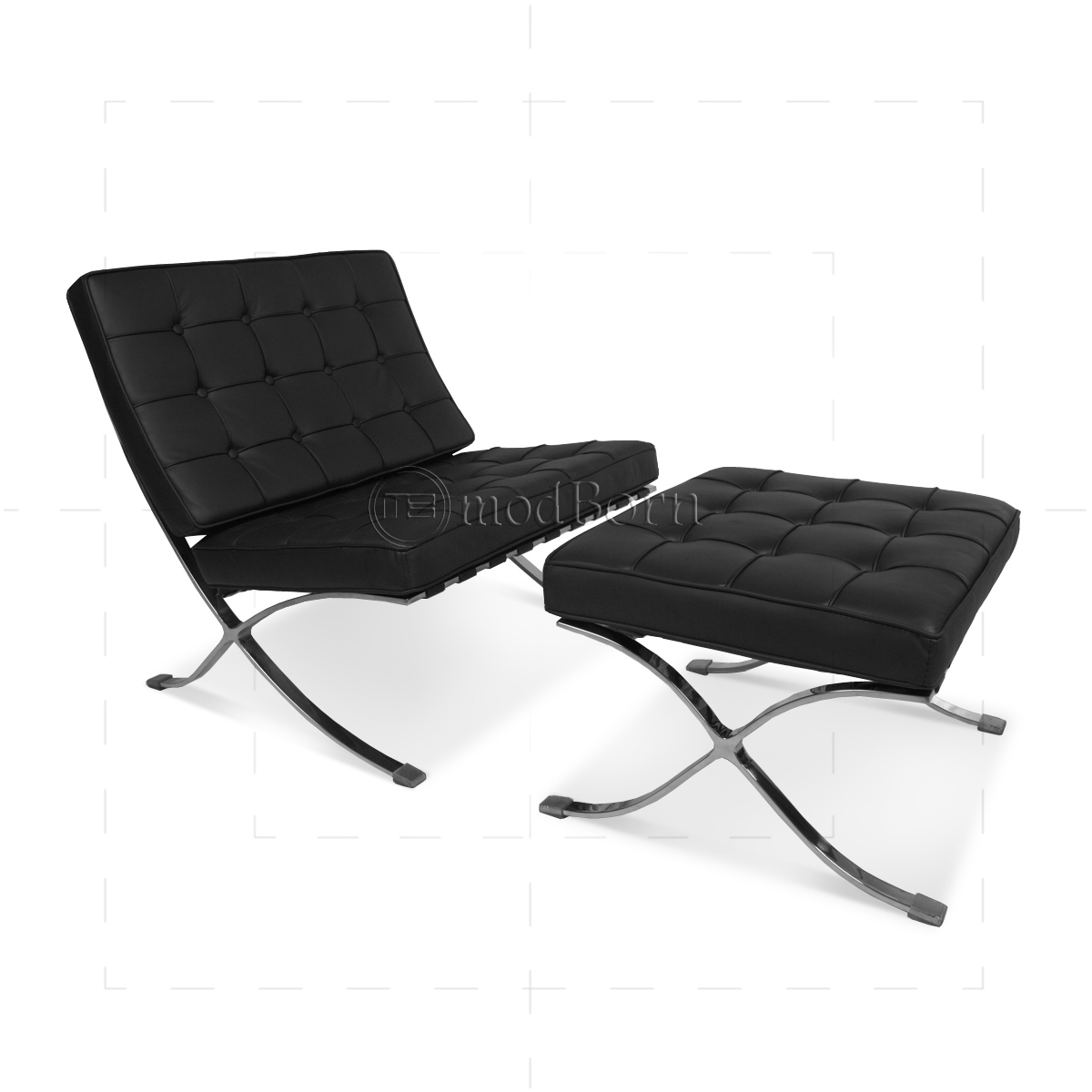 ludwig mies van der rohe barcelona style chair black leather replica. Black Bedroom Furniture Sets. Home Design Ideas
