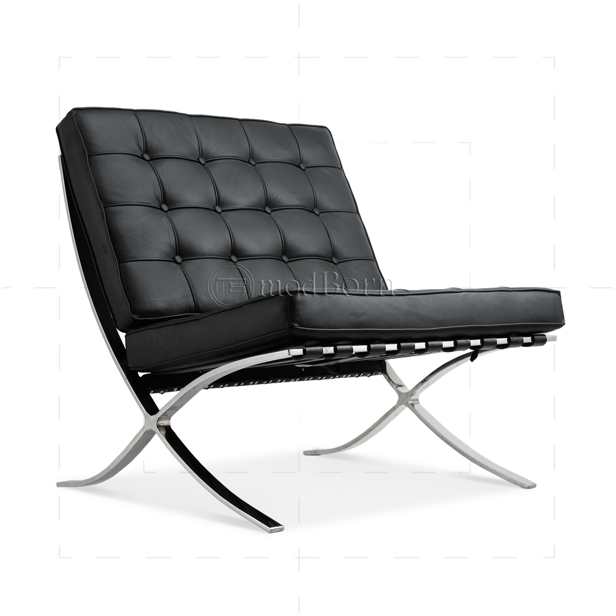 ludwig mies van der rohe barcelona style chair black leather. Black Bedroom Furniture Sets. Home Design Ideas