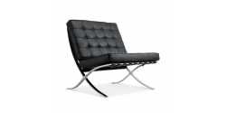 Ludwig Mies van der Rohe Barcelona Style Chair Black Leather - Replica
