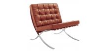 Barcelona Inspired Chair COGNAC Brown Leather